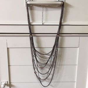 Multi color cascading chains necklace